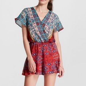 Xhilaration colorful romper with ruffle legs